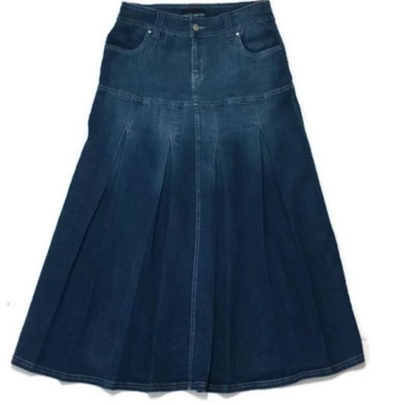 c7e21a4c4cf4b Indulgence Dresses & Skirts - Midi Modest Denim Skirt 6 Stretch Pleated 30W  Long